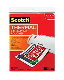 Scotch Thermal Laminating Pouches, 8.5 Inches x 11 Inches, 60 Pouches