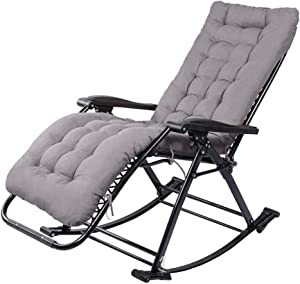 Household products Garden Rocking Chair Foldable Reclining Chair Outdoor Adjustable Sun Lounger Recliner Chairs Rocker Zero-Gravity Seat with Cushion for Beach Camping Patio Deck ( Color : Gray )