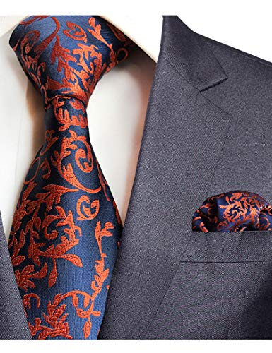 f257260bb093 GUSLESON Brand New Paisley Tie and Pocket Square Set Mens Plaid Necktie