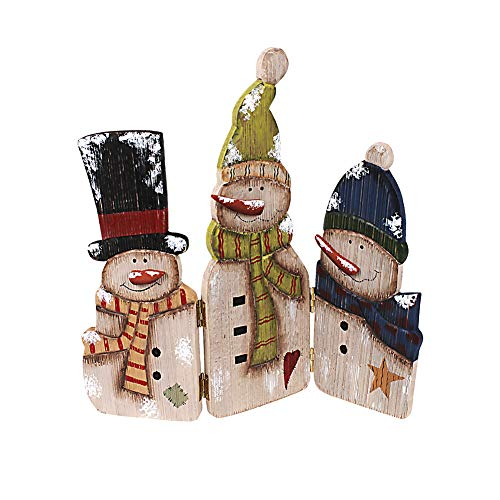 Wood Snowman Tabletop Decoration Triple Snowman Decorative Folding Screen Wooden Christmas Signs Holiday Centerpiece Home Xmas -