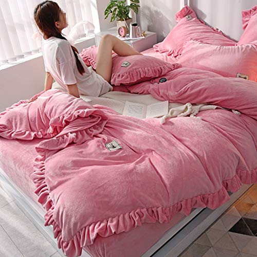 Double Quilt Cover, Pure Pink Green Series Linen Quilt Cover Pillow Set Four-Piece, Thick Flannel Coral Velvet Microfiber Bedding (Color : Pale Pinkish Purple Jade, Size : 2.0m Bed)