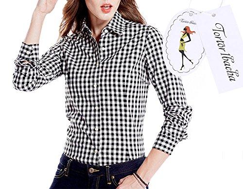 Women's Gingham Long Sleeve Button Down Plaid Shirt Black White 8-10