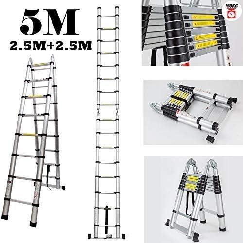 einziehbare 16 Schritt Aluminium kollabierbare Leiter Schlupf HOUSEHOLD 5M Ausziehbarer Ladder Telescopic A Frame Leitern 2.5M 2.5M
