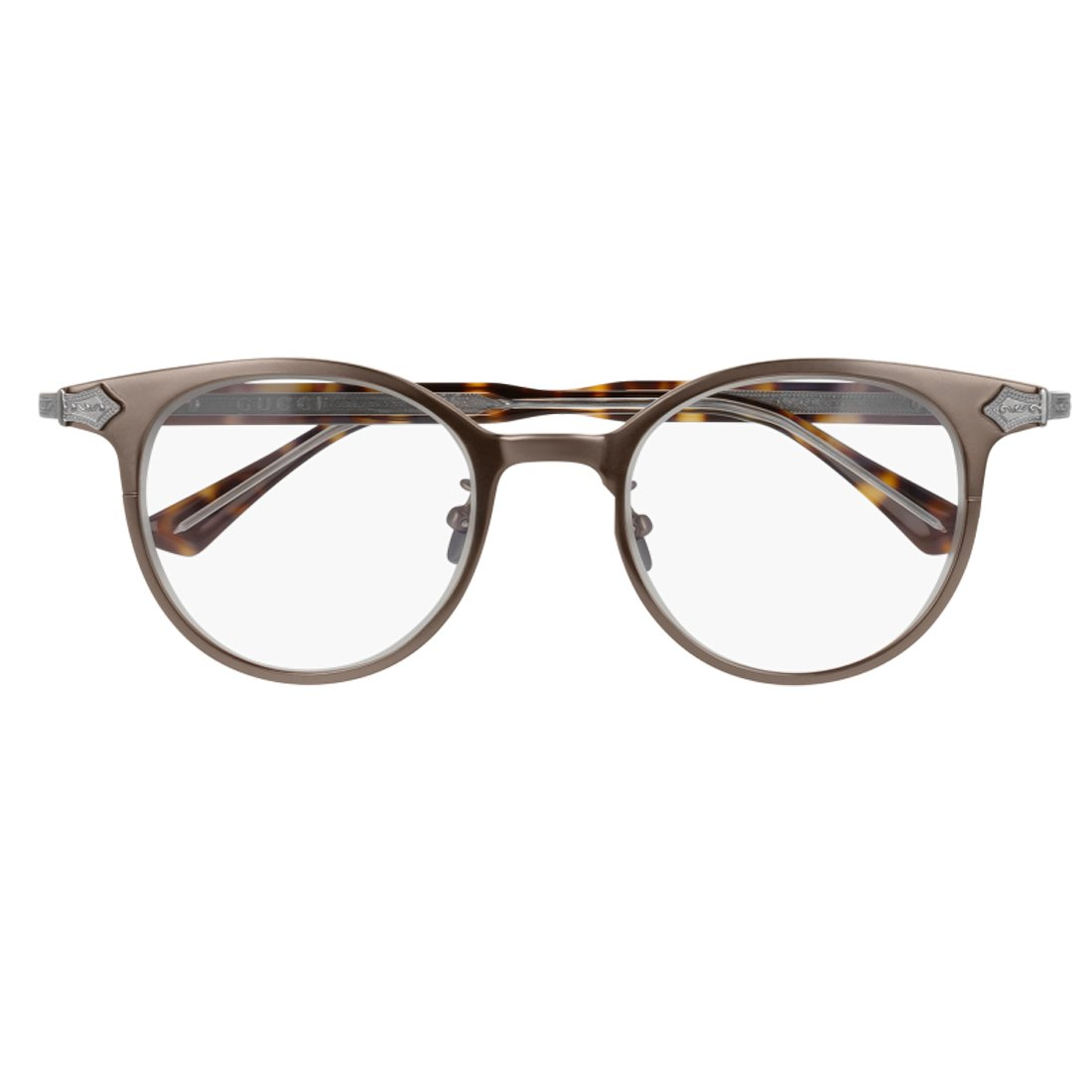 Gucci GG 0068O 002 Brown Ruthenium Titanium Round Eyeglasses 49mm by Gucci