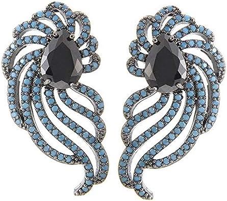 Vintage Black Stud Earrings para mujeres semipreciosas plumas Studs Ear Fashion Jewellery Costume