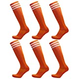 BlanKey Unisex Knee High Triple Stripe Soccer Sports Tube Socks 2 Pack,6 Pack