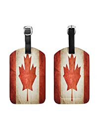 Set of 2 Canada Flag Retro Travel Luggage Suitcase Labels ID Tags