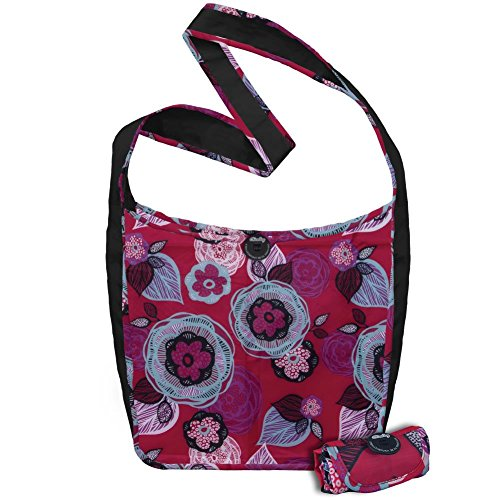 ChicoBag Sidekick Cross-Body Reusable Shopping Tote/Grocery Bag with Pouch, Boysenberry Bliss, 14 x 13.5-Inch Bag/4 x 2-Inch Pouch
