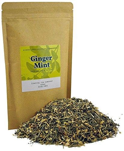 Coastal Tea Company Loose Leaf Ginger Tea Blend, Stomach Ache & Nausea Relief, 3.5 Ounce Bag