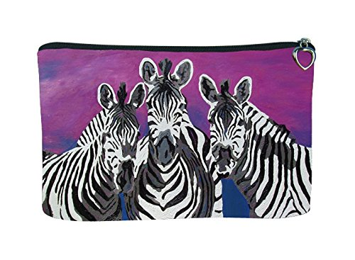 American Zebra Line - Zebras Cosmetic Bag, Zip-top Closer - Taken From My Original Paintings (Zebras - Family)