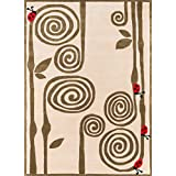 Momeni Rugs LMOJULMJ-3IVY4060 Lil' Mo Whimsy Collection, Kids Themed Hand Carved & Tufted Area Rug, 4' x 6', Ivory