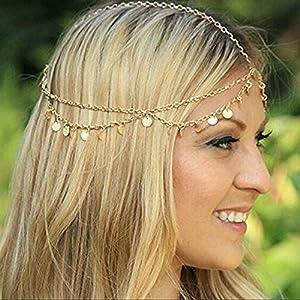 Aukmla Gold Small Coins Hair Chain Boho Festival Wedding Headpiece Head Chain Spring Summer Christmas Headchain Gold…