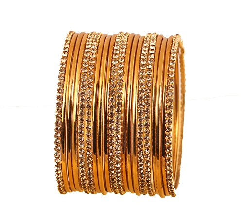 Style Rhinestone Bangle (NEW! Touchstone Indian Bollywood Traditional Style Single Line Slim Yellow Rhinestone And Plain Golden Designer Jewelry Bangle Bracelets Set of 20. In Antique Gold Tone For Women.)