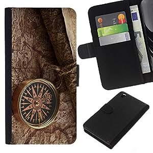 Planetar® Modelo colorido cuero carpeta tirón caso cubierta piel Holster Funda protección Para HTC DESIRE 816 ( retro kompas karta oboi )