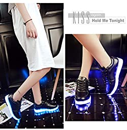 Sunbona Unisex Spring Summer Fashion Flat LED Light Up Glow Lace Up Sneakers With USB Charging Applied For Camping ,Hiking ,Night party Indoor&Outdoor Activities (US:7(RU/EU/CN38), Black)