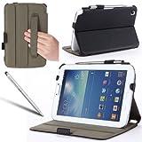 i-Blason Samsung Galaxy Tab 3 8.0 Auto Wake / Sleep Slim Folio Book Shell Stand case Cover with Elastic Hand Strap, Stylus Loop & Bonus Stylus (3 Year Warranty) (Black)