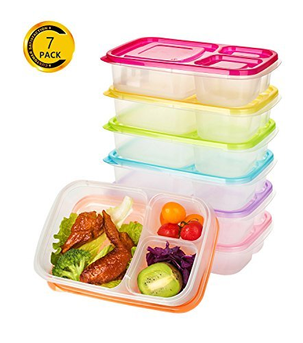 Vivaware Meal Prep Containers with Lids (7-Pack) 3-Compartment Bento Boxes | Portion Control, BPA Free Food Storage | Stackable, Color Coded Lunch Box | Microwavable, Freezer Safe