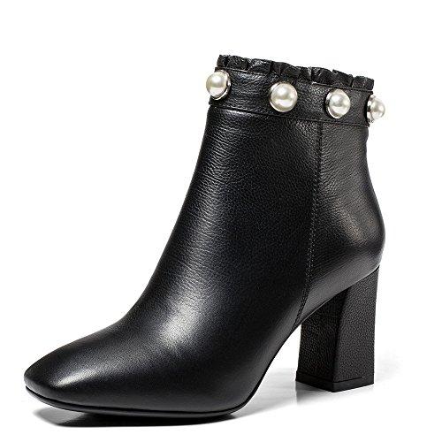 Pearls Style Nine Genuine Seven Toe Boots Handmade Dressy Block Heel Black Ankle Women's Square Leather xq8Ua4
