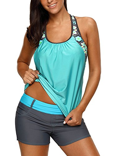 Size Plus Tankini - Women's Blouson Floral T-Back Push Up Tankini Top Halter Padded Slimming Swimsuit Sporty Swimwear Mint Green Plus Size XXL 18 20