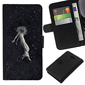NEECELL GIFT forCITY // Billetera de cuero Caso Cubierta de protección Carcasa / Leather Wallet Case for Sony Xperia M2 // Space Girl Emo