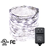 RUICHEN LED String Lights, 300 LED Starry String Lights on 49.5Ft Silver Wire + 12V Power Adapter for Christmas, Weddings, Parties(White)