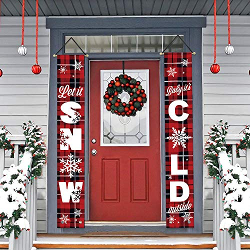 AVOIN Let it Snow Baby It's Cold Outside Porch Sign, Winter Holiday Christmas Hanging Banner Flag for Yard Indoor Outdoor Party 12 x 72 Inch (Holiday Door Decor)