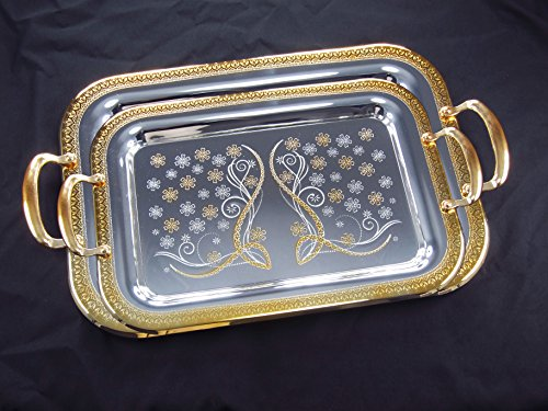 Denizli Serveware JS Silver Art Collection Double Stainless Steel Serving Tray Platter, 24K Gold-plated Handles (S930-1149) Art Platter