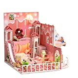 OHQ Friends&Me DollHouse Children House With Ice Cream Shop, with Princess Bed Stair Floor Lamp Toy Cars and Tracks Slide Doll, Creative Birthday (Pink)