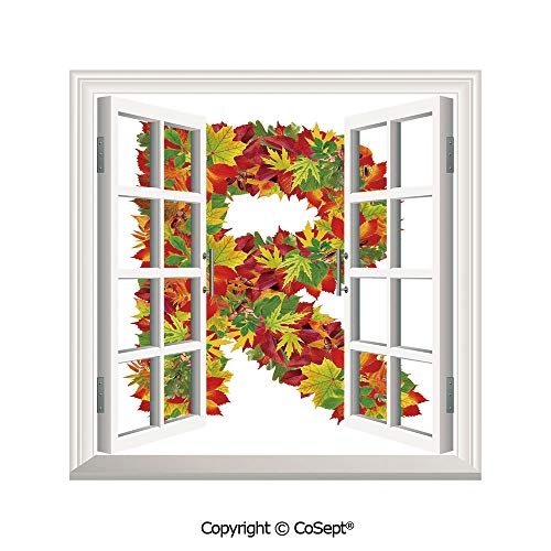 - SCOXIXI Open Window Wall Mural,Floral R Made with Maple Leaves Bouquet Essence Autumn Inspirations Initials Theme Decorative,for Living Room(26.65x20 inch)