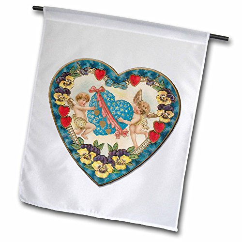 3dRose fl_169995_1 Heart Shaped Victorian Valentine with a Blue Heart and Cupids Garden Flag, 12 by 18-Inch