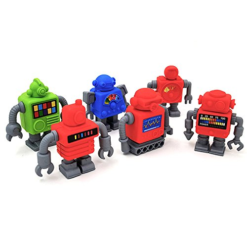 Robot Pencil Toppers (Robot Eraser,Pack of 6)