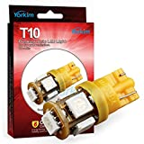 Automotive : 194 LED Light bulb, Yorkim 2015 Newest, 5th Generation, Interior Lights for W5W 194 168 2825 T10 Wedge 5-smd 5050, Replacement and Reverse T10 White Bulbs(Pack of 10)- Orange/Amber