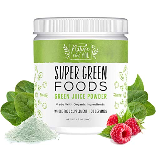 Super Greens Powder Organic Blend - Includes Spirulina, Alfalfa, Spinach, Acai, Probiotics and Digestive Enzymes, No Artificial Sweeteners, 30 Servings by Nature Plus You (Vegetable Powder Supplement)