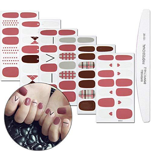 WOKOTO 6 Sheets Full Wraps Nail Polish Stickers With 1Pcs Nail File Heart Lattice Geometry Self-Adhesive Nail Art Decals Strips Manicure Kits