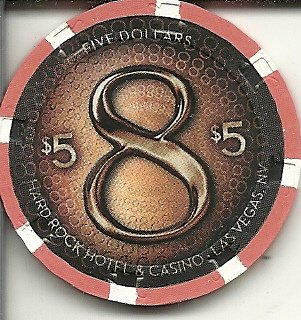 $5 hard rock 8 las vegas casino chip new edition