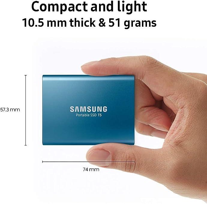 Samsung 三星 迷你便携 T5 移动SSD固态硬盘 500GB 4.2折$79.99史低 2色可选 海淘转运到手约¥571