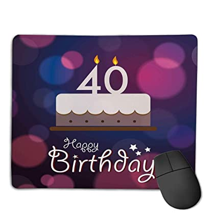 Comfortable Mouse Pad Quality Selection40th Birthday DecorationsBig Color Dots And Graphic Cake