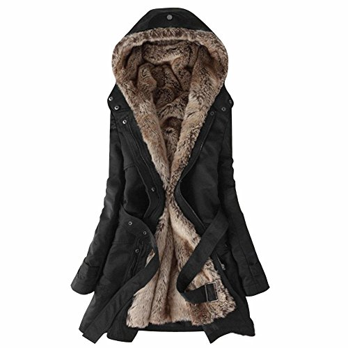 Women Slim Hooded Thicken Cotton Padded Coat Hoodies Black - 2