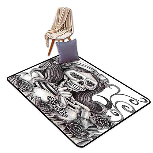 Inner Door Rug Skull Sexy Skull Girl with Floral Veil Ceremony Day of The Dead Bride Skeleton Lady Art Easy to Clean W63 xL90.5 Grey White