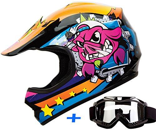 2be3df66 Youth Kid Motocross Motorsport ATV UTV Dirt Bike Helmet Goggles Combo Deal  DOT (M, War-Hog Jr.) by iv2 helmets