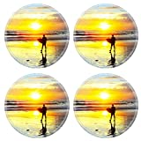 Liili Round Coasters Non-Slip Natural Rubber Desk Pads IMAGE ID: 28076312 Surfer walking with surfboard on the ocean beach at sunset Bali island Indonesia