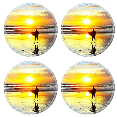 Liili Round Coasters Non-Slip Natural Rubber Desk Pads IMAGE ID: 28076312 Surfer walking with surfboard on the ocean beach at sunset Bali island Indonesia by Liili