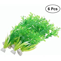 UEETEK 6Pcs Artificial Underwater Plant Rice Grass Fake Plant Decorative Aquarium Ornament for Fish Tank