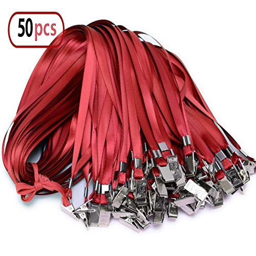 - Red Lanyard Clip Bulk Neck Flat Woven Nylon Lanyard with Bulldog Clips Red Lanyards for id Badges,lanyards 50Pack 32-inch