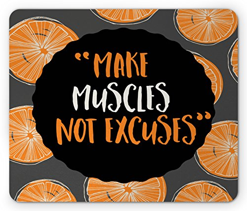 Fitness Mouse Pad by Ambesonne, Make Muscles Not Excuses Phrase with Modern Design Artistic Display, Standard Size Rectangle Non-Slip Rubber Mousepad, Orange Black Charcoal Grey - Excuse Pad
