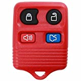 KeylessOption Red Replacement 4 Button Keyless Entry Remote Control Key Fob Clicker