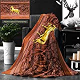 Ralahome Unique Custom Double Sides Print Flannel Blankets Horse Wood Carvings In Thai Land Super Soft Blanketry for Bed Couch, Twin Size 80 x 60 Inches