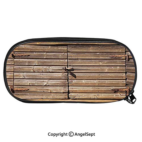 839D Printing Pattern Pencil CaseOld Wooden Aged Barn Door with Padlock Abandoned Vintage Farmhouse Rural Village Photo for Children Teenager Pen Box Pencil Pouch Desk for Boys and GirlsBrown]()