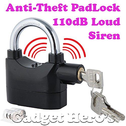 Gadget Hero's Anti Theft Motion Sensor Alarm Lock. Security Smart Padlock Siren for Home Office Bike Bicycle Shop