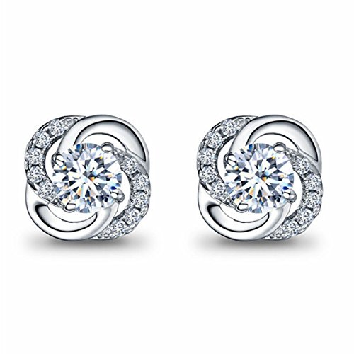 (Besflily Womens Girls Elegant Cubic Zirconia Stud Earrings Flower Shaped Twisted Crystal Stud Earrings with Gift Box)